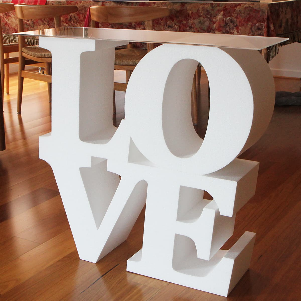 foam letter LOVE with table top