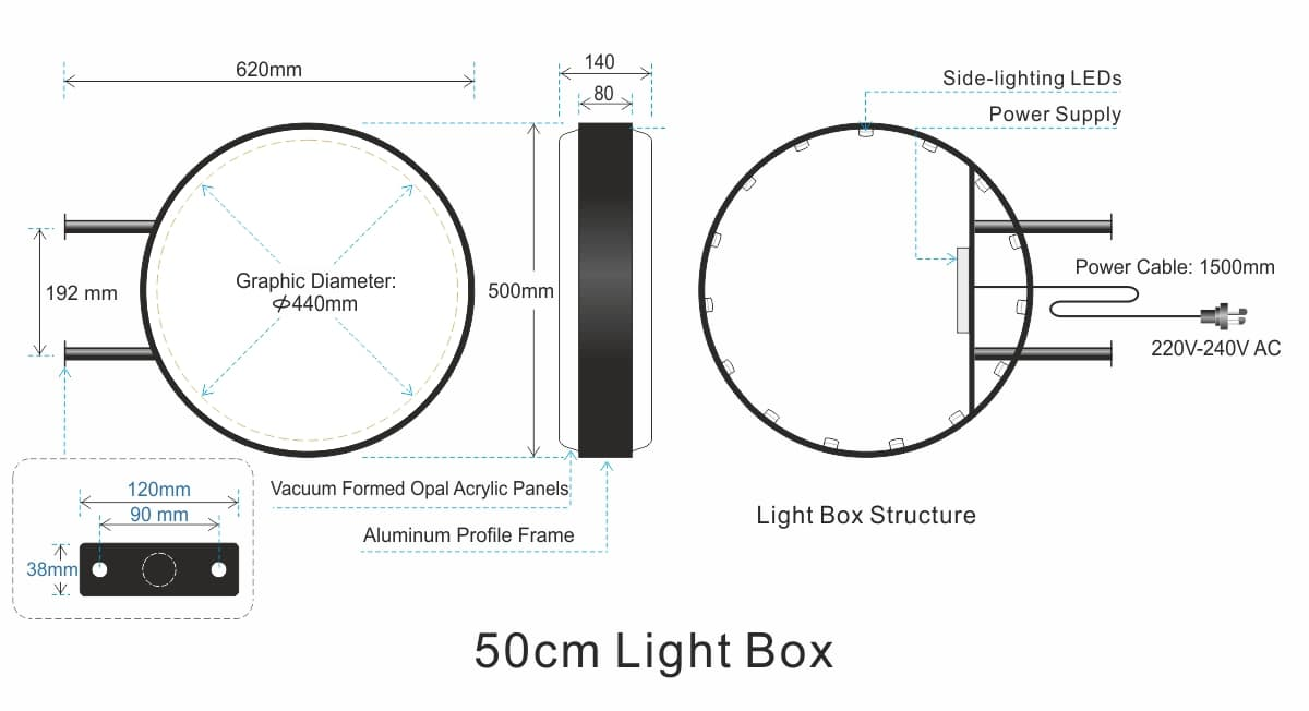 50mm LED Light box structure round light box for shop signages circluar light boxes signs light box diagram at soozxer.org