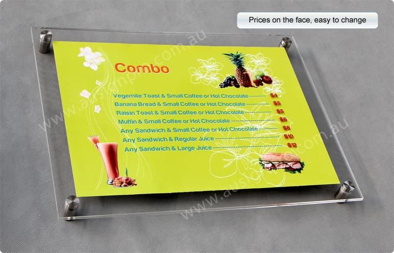 acrylic menu boards, menu display panels, perspex menu display panels, wall mount menu panels